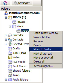 how to move folders up in hotmail